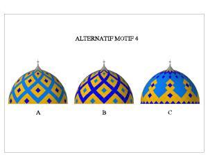 kubah, masjid, enamel, motif, space frame