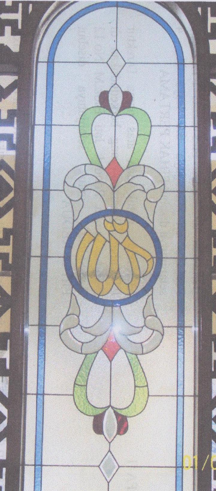 motif kaca grafir inley patri untuk leher kubah dan